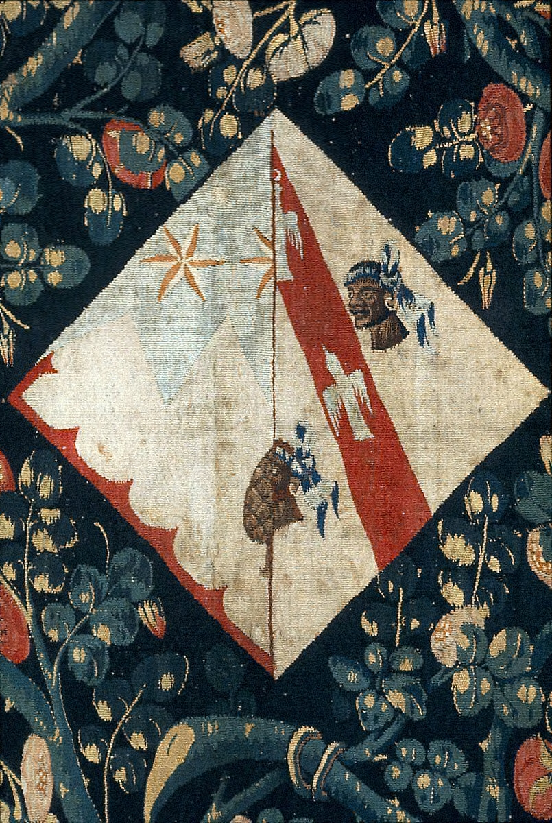 Millefleurs Tapestry with a Lady's Coat of Arms (a fragment from a series of armorial mill