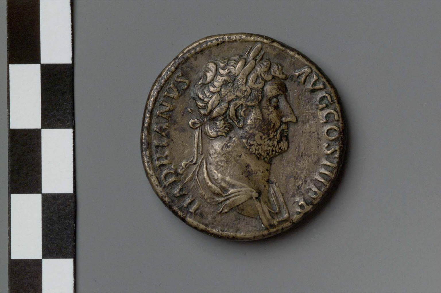 Sestertius with bust of Hadrian