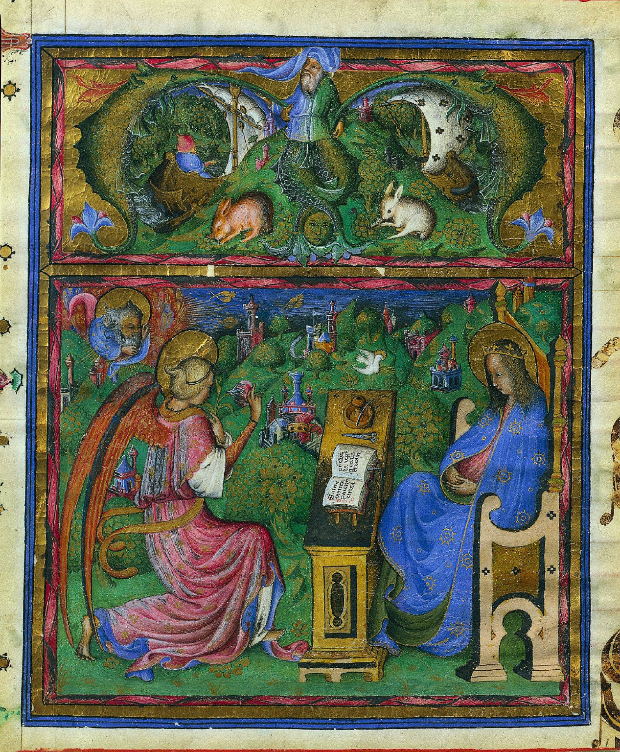 Miniature with Initial (M) Excised from an Antiphonary: The Annunciation