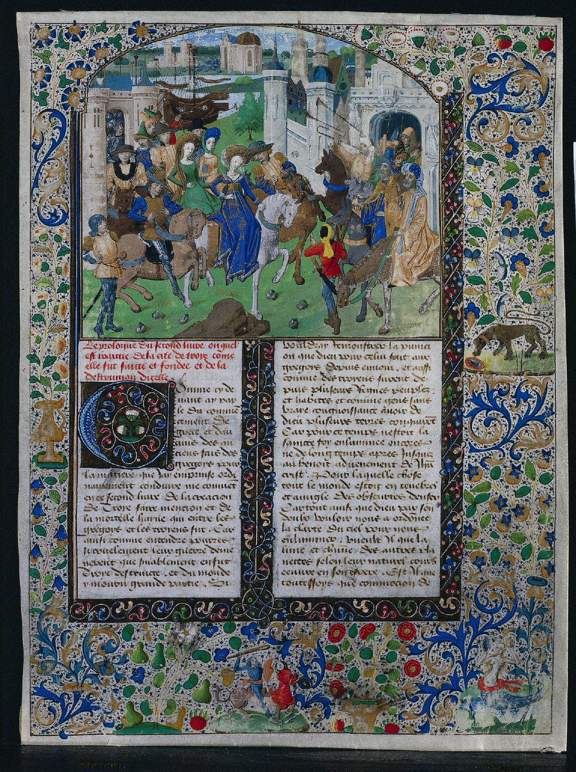 Leaf from Jehan de Courcy's Cronique Universelle, dite la Bouquechardiere: Meeting of Priam and Helen before the Gates of Troy