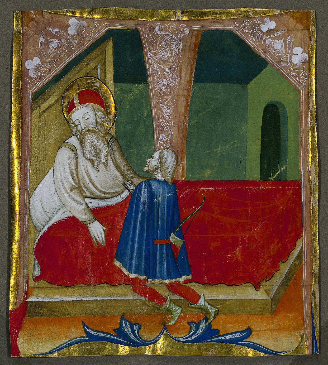 Historiated Initial (T) Excised from a Choir Book: Isaac and Esau