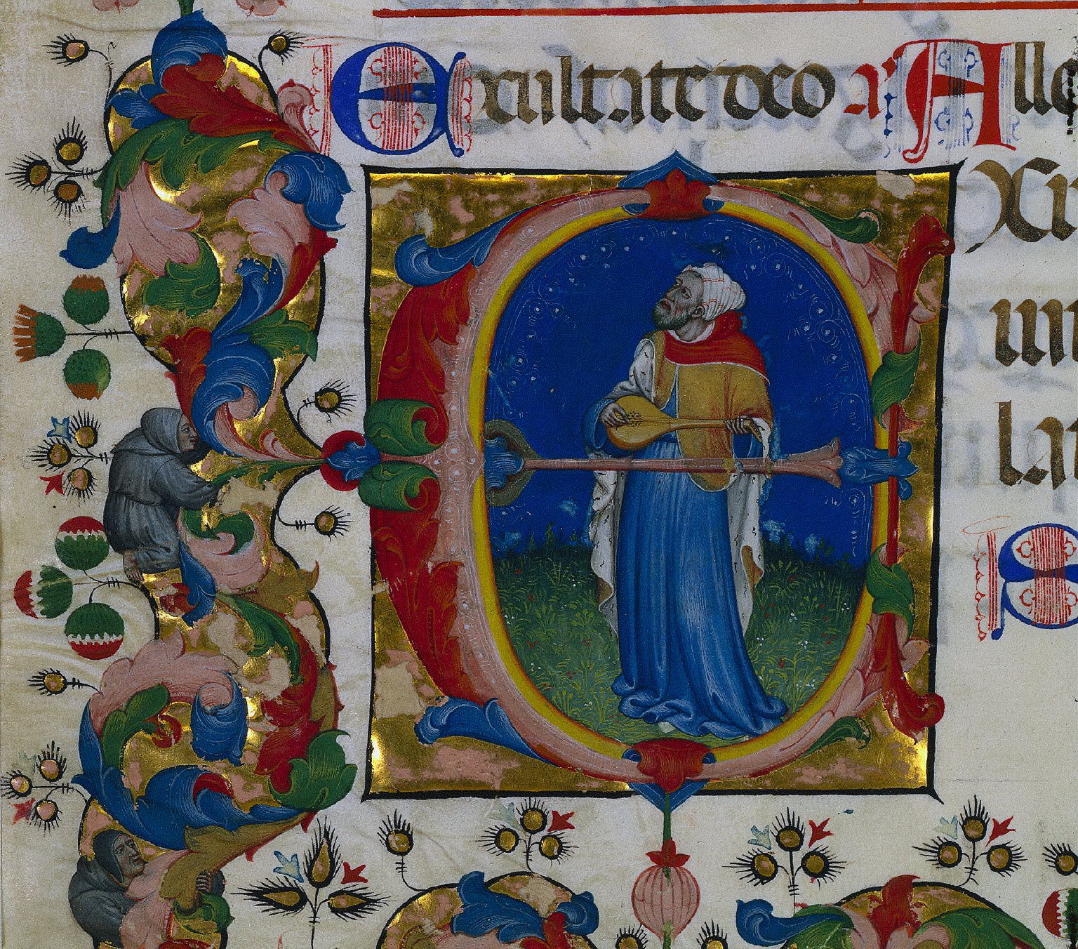 Leaf from a Choir Psalter with Historiated Initial (E): King David Playing the Lute