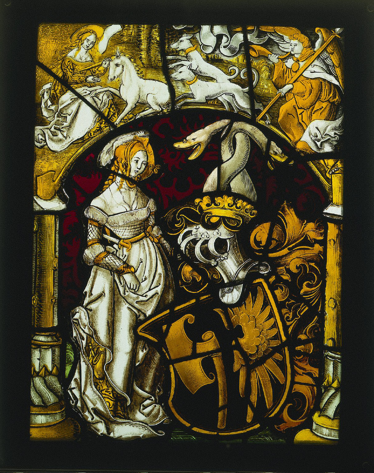 Heraldic Panel: Arms of Lichtenfels and a Unicorn Hunt