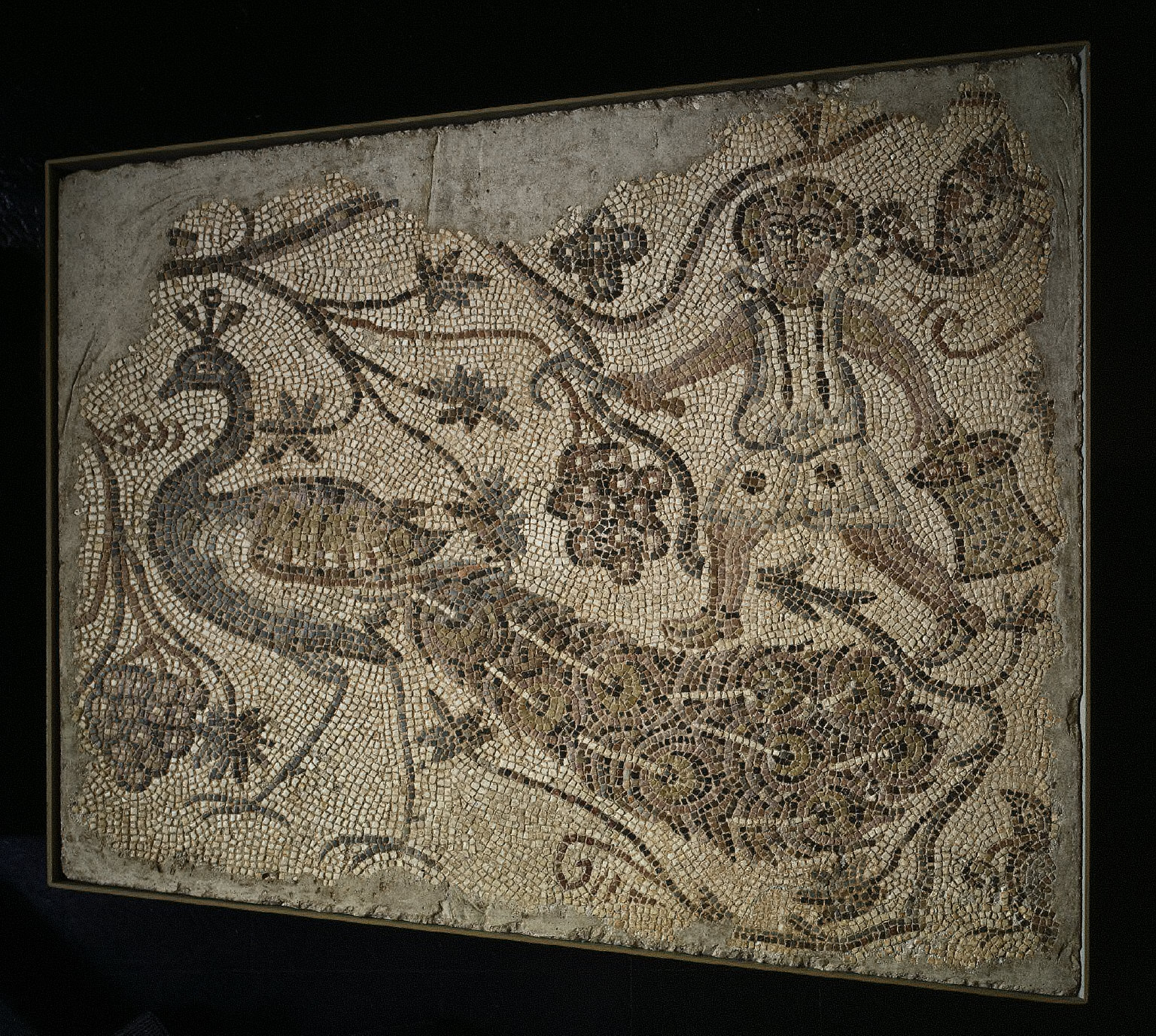 Floor Mosaic Panel: Grape Harvester with Peacock