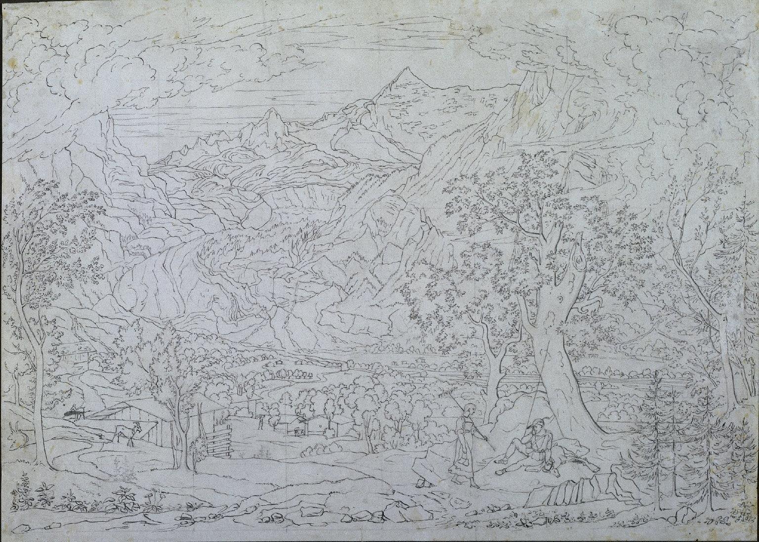 Der Grindelwald-Gletscher mit Figuren im Vordergrund