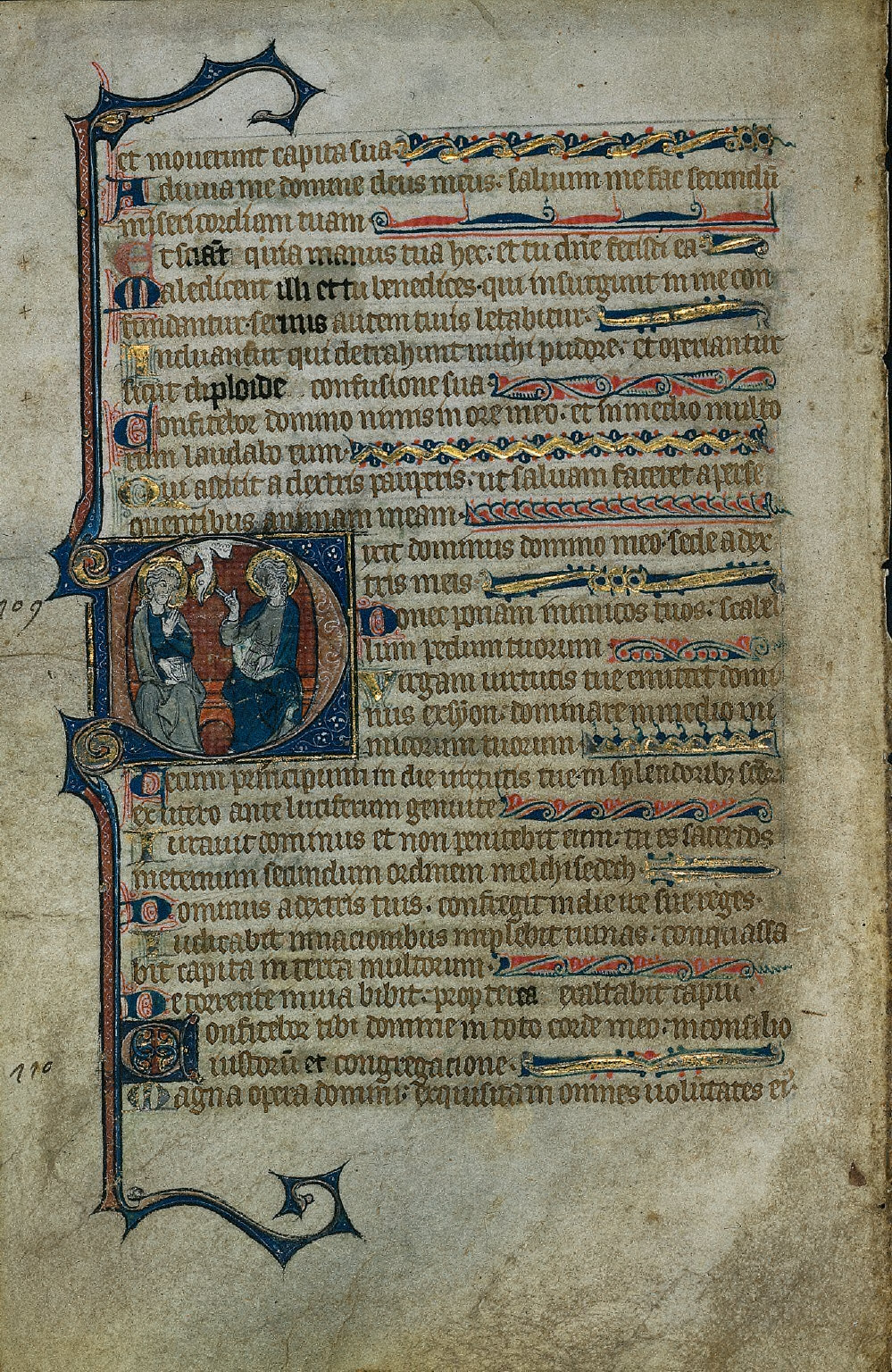 Historiated Initial D with The Trinity: Excised Leaf from a Psalter