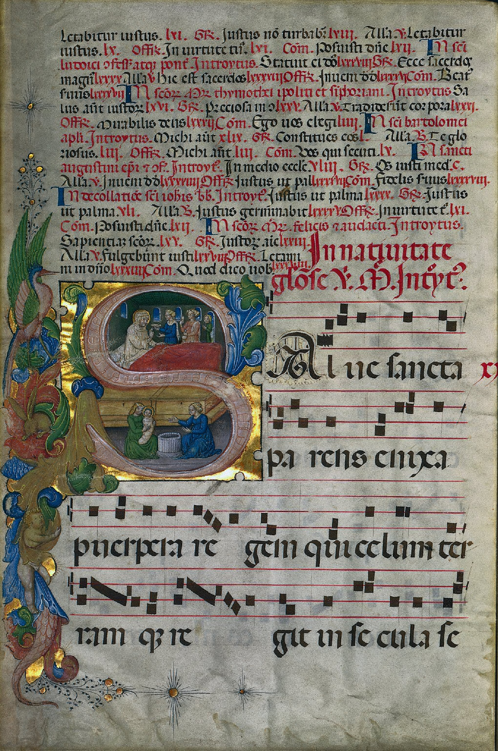 Initial S with the Birth of the Virgin: Leaf from a Gradual