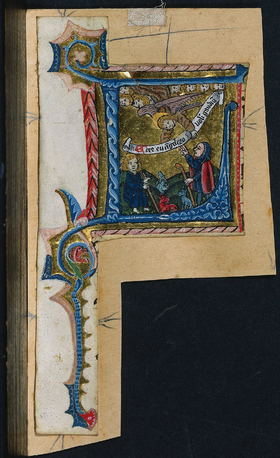 Cutting from a Missal: Initial L with the Annunciation to the Shepherds