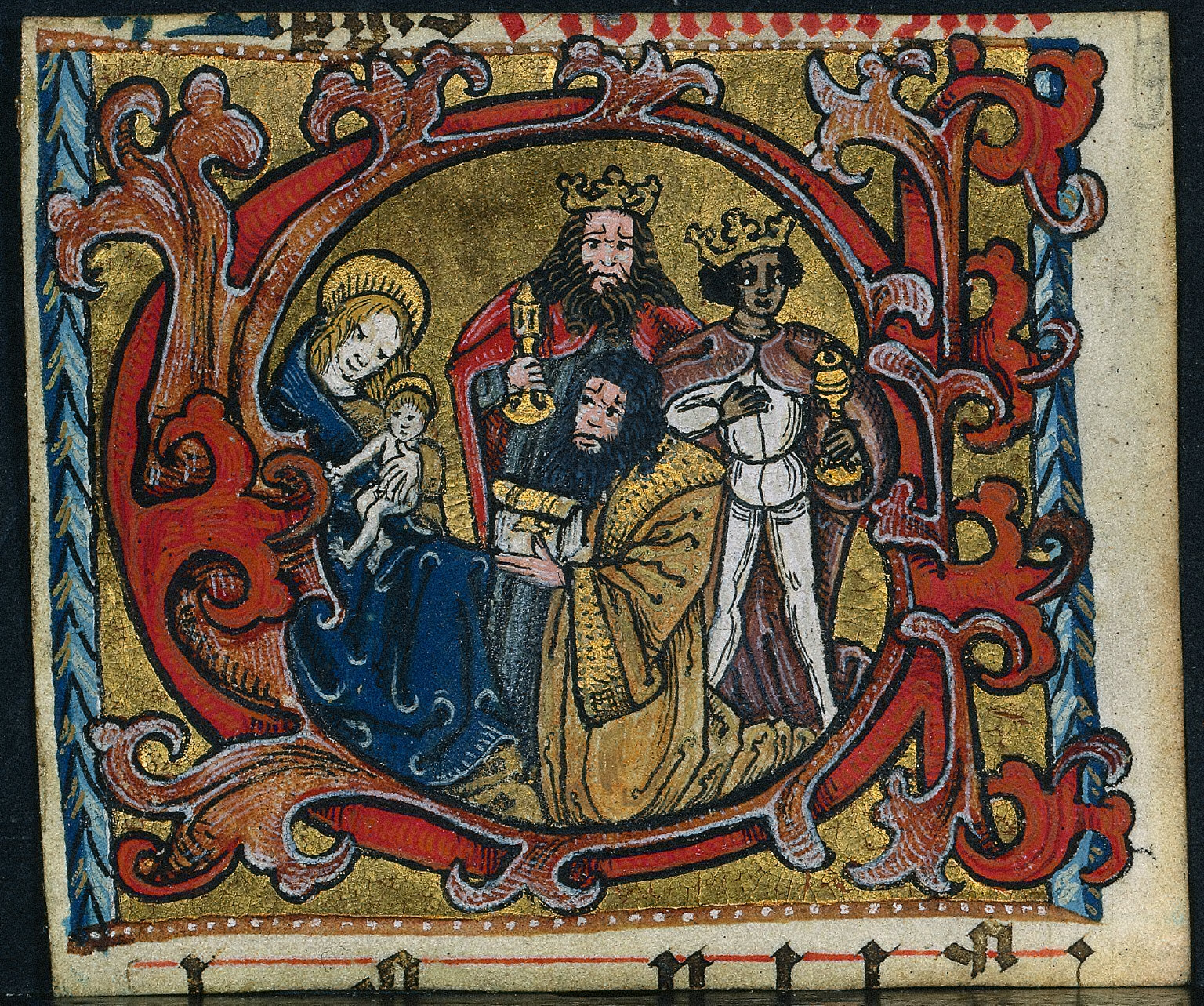 Cutting from a Missal: Initial C with the Adoration of the Magi