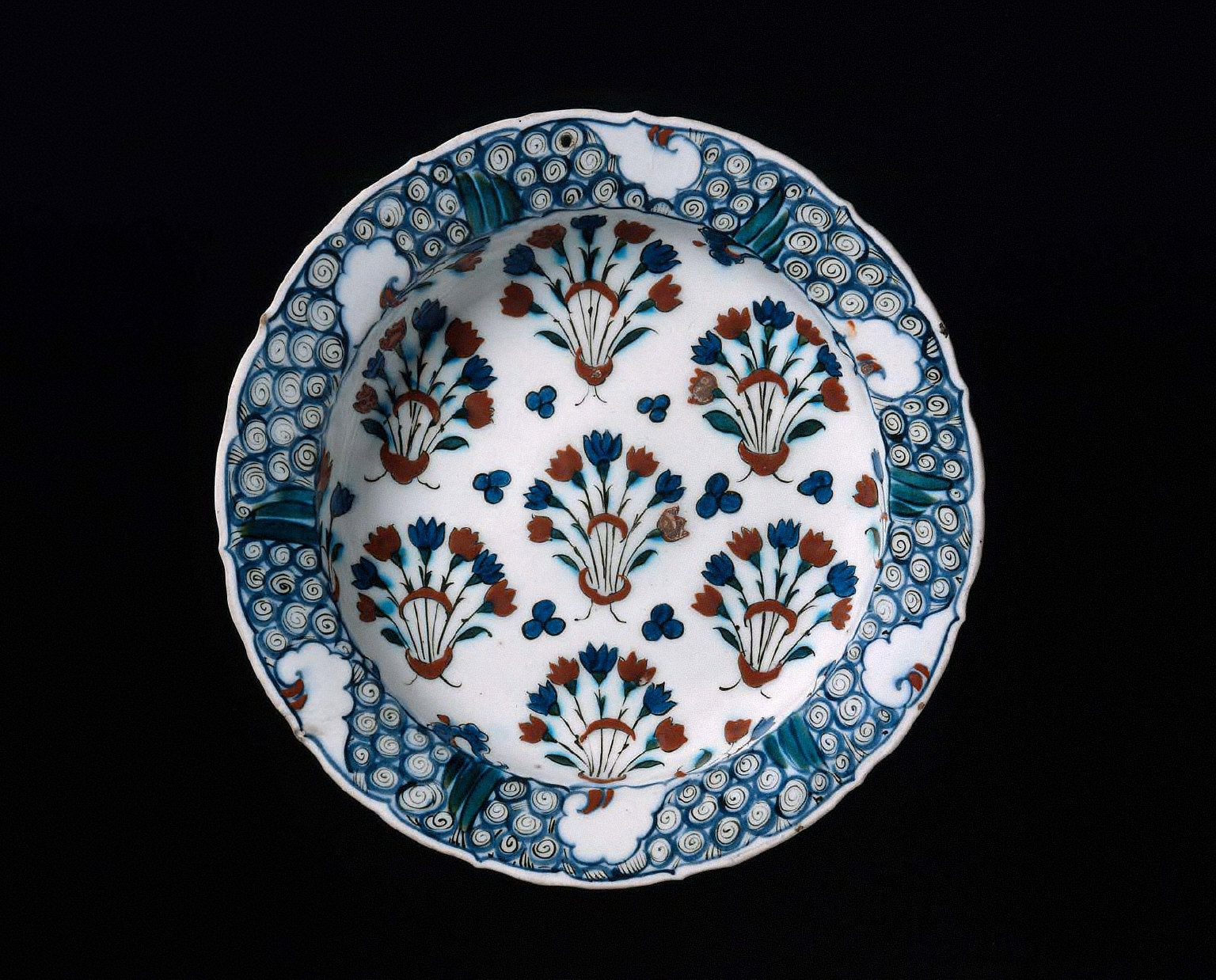 Dish with flowering plants