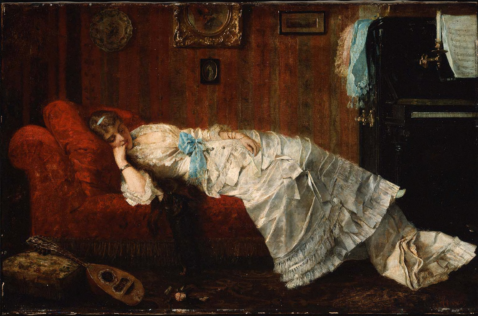 Young Woman Resting in a Music Room