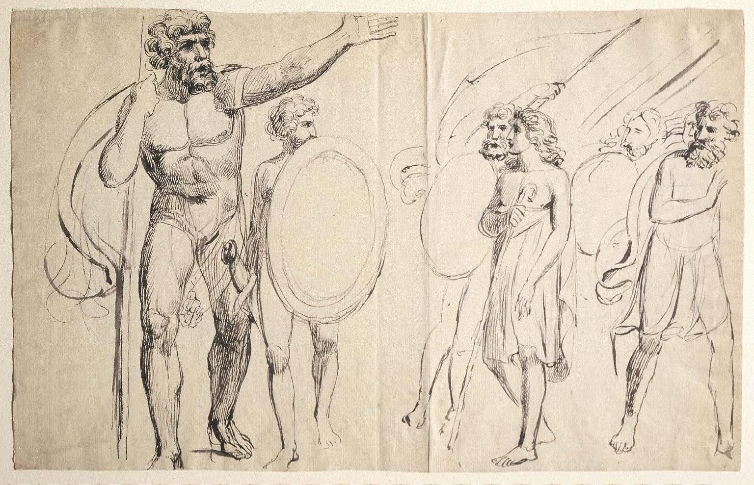 Goliath Cursing David (recto) A Pulcinello Frightening a Child (?) (verso)