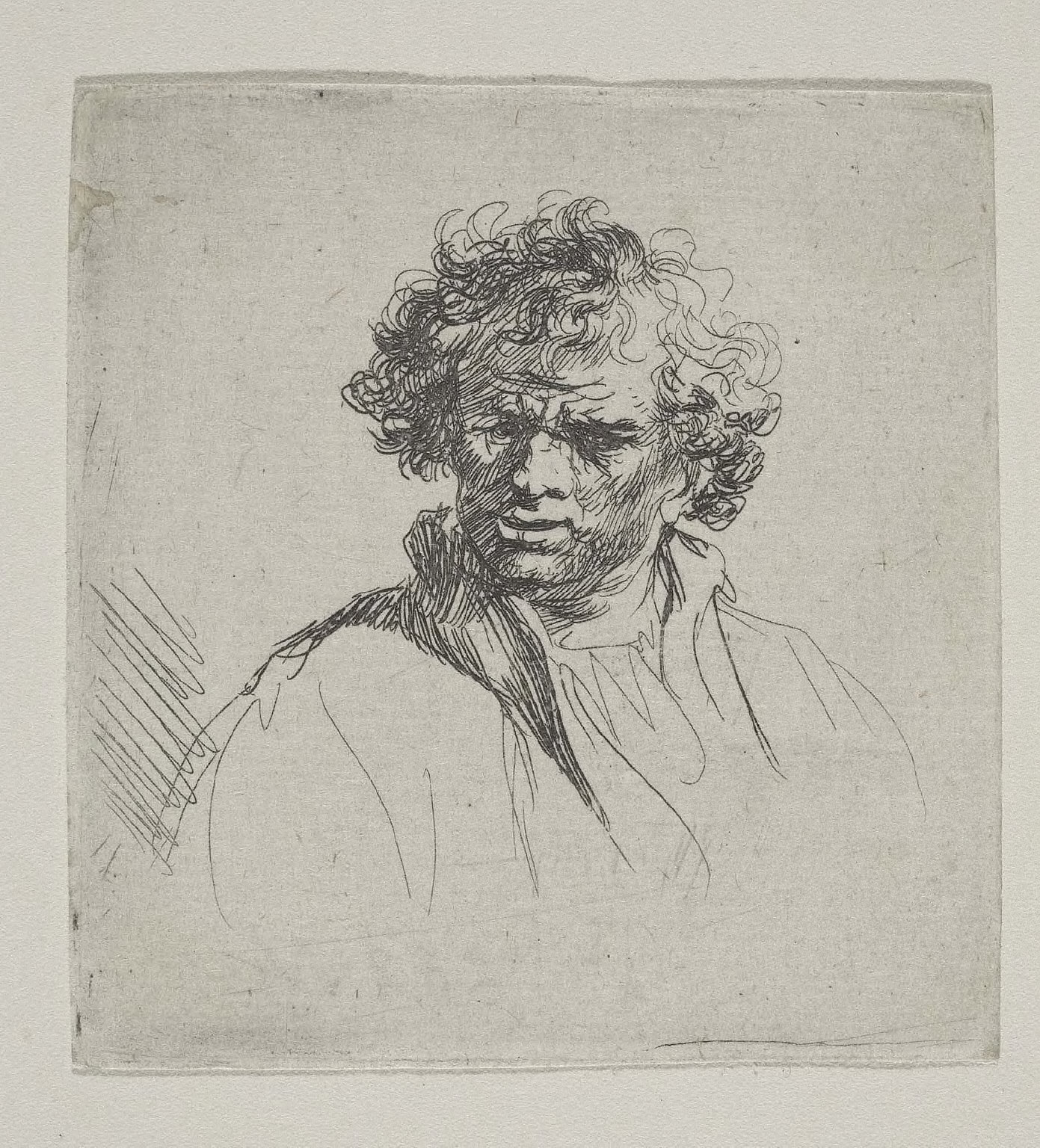 Curly-Headed Man with a Wry Mouth