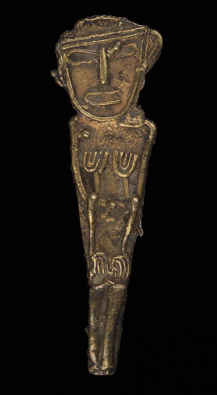Seated male effigy figure