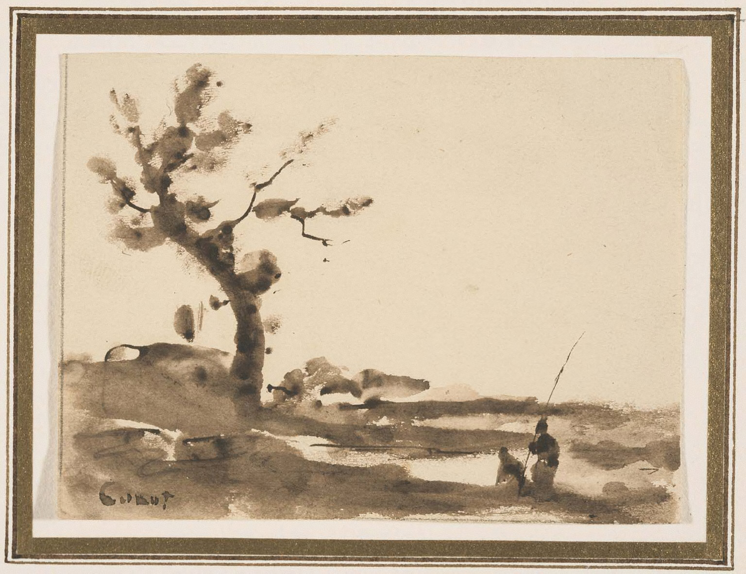 Landscape, with large tree on left, two figures at right, one holding long pole.