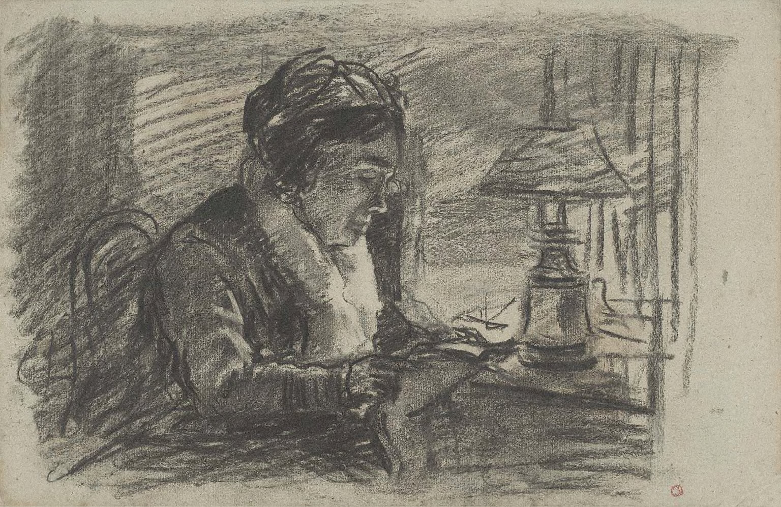 Old Woman Seated by Oil Lamp