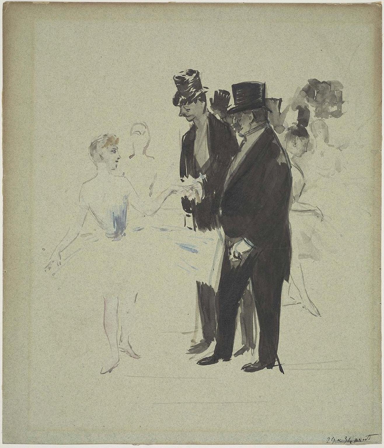 Dancer meeting two gentlemen in tall hats