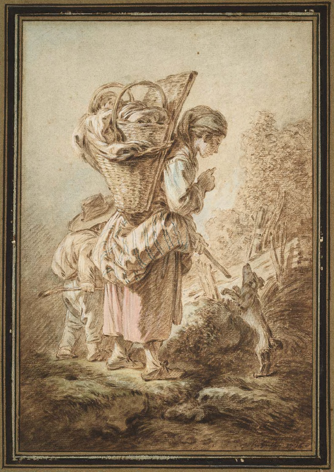 Peasant Girl with Children and a Dog