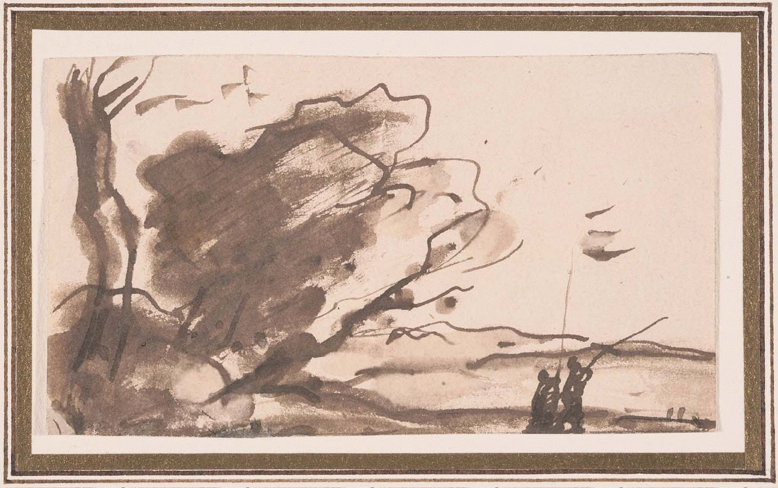 Landscape, with grove of trees at left, two men with long poles at right.