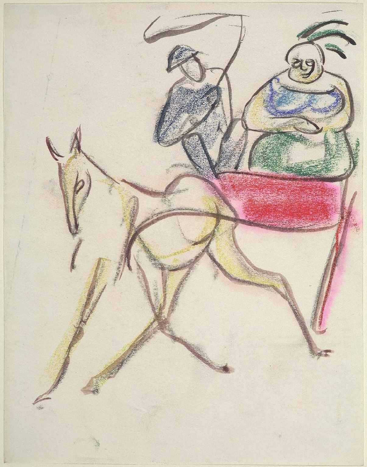 Horse and Cart with Two Riders