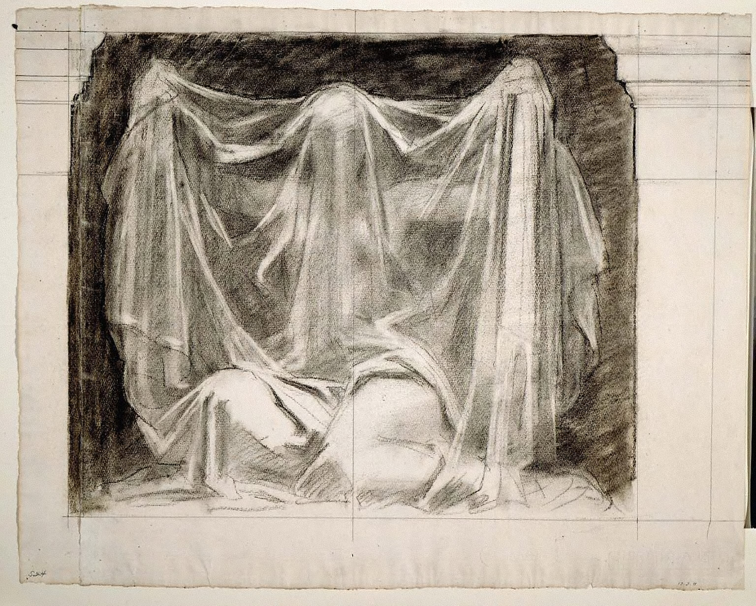 Sketch for The Unveiling of Truth- Figure Wholly Draped (MFA Stairway)
