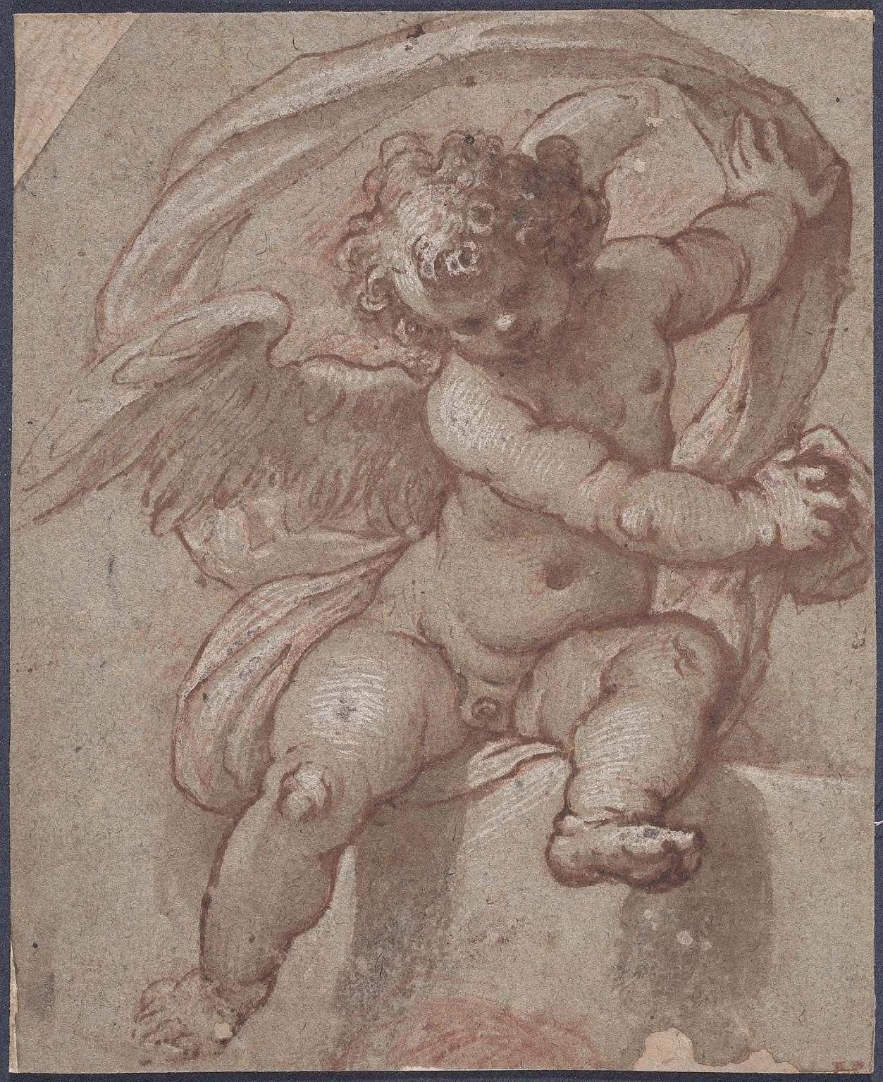 Cupid, seated