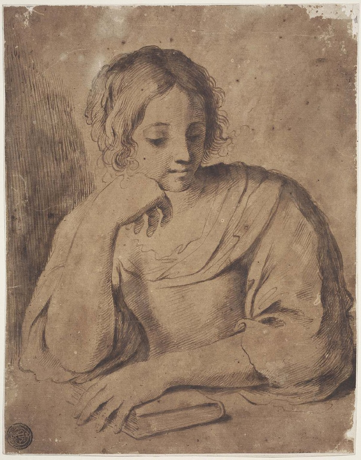Girl Seated at a Table with a Book