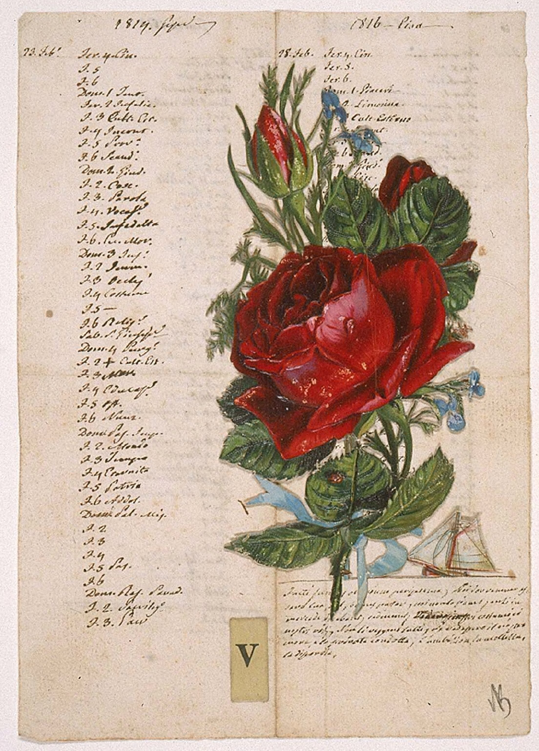 """Untitled (Manuscript with Red Rose and Sailboat, the Letter """"V"""")"""
