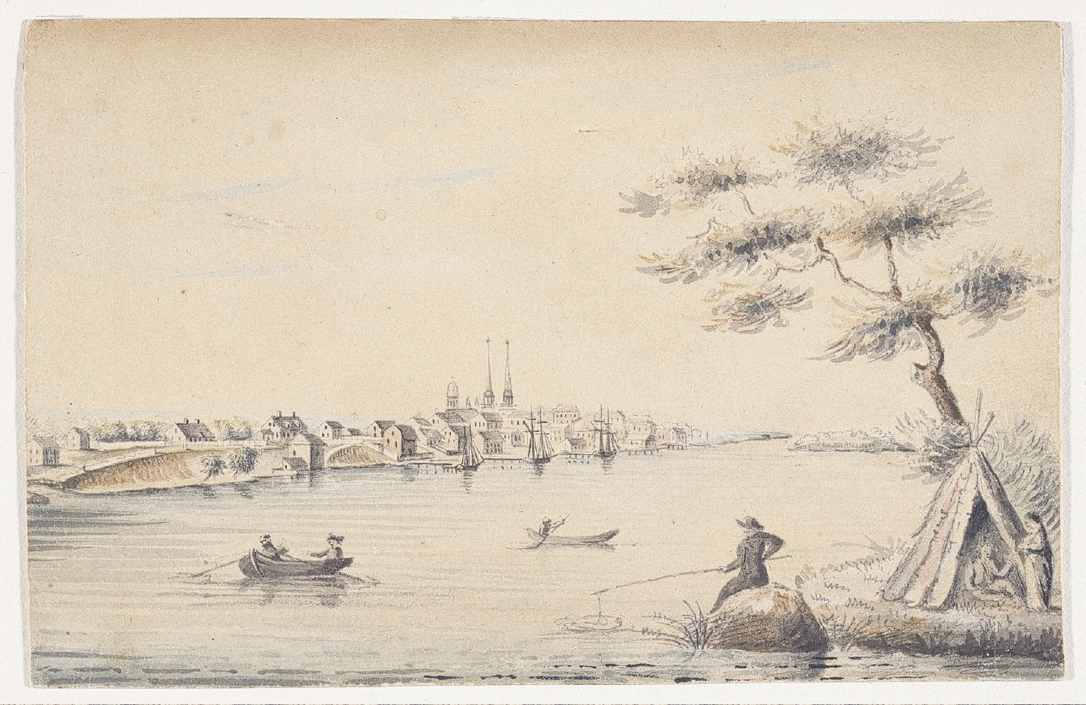 Detroit as Seen from the Canadian Shore in 1821
