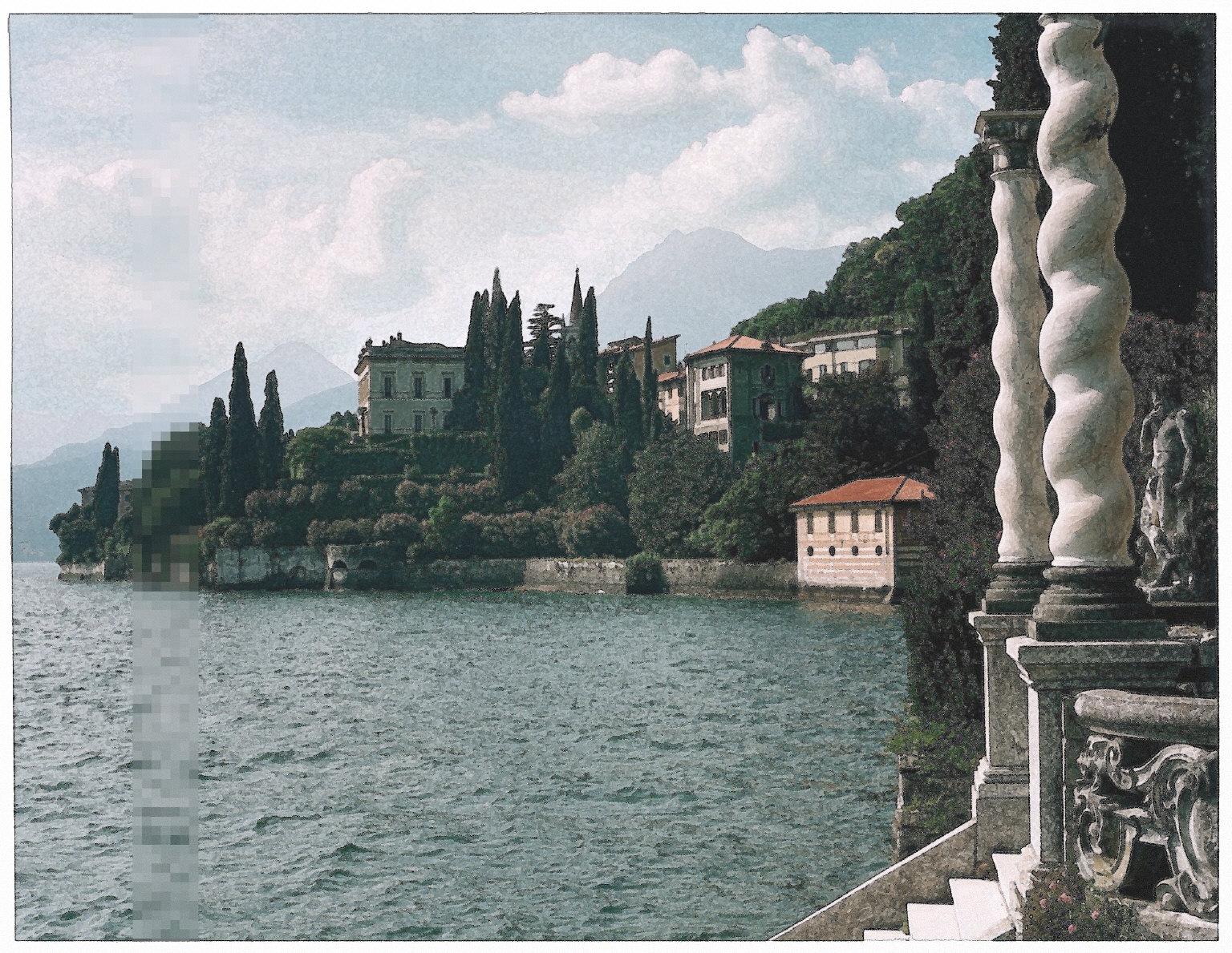 Villa Cipressi from the Villa Monastero, Lake Como, Italy