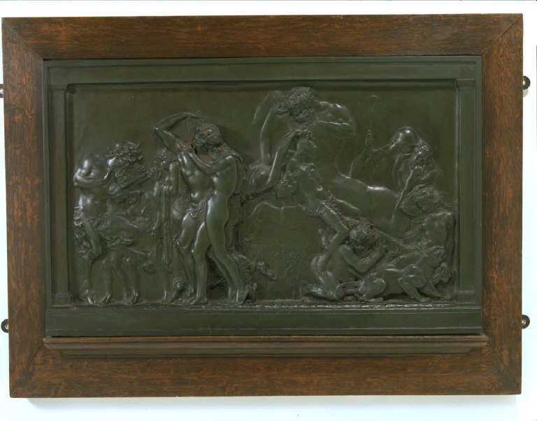 BRONZE RELIEF: 'Cathal and the woodfolk'