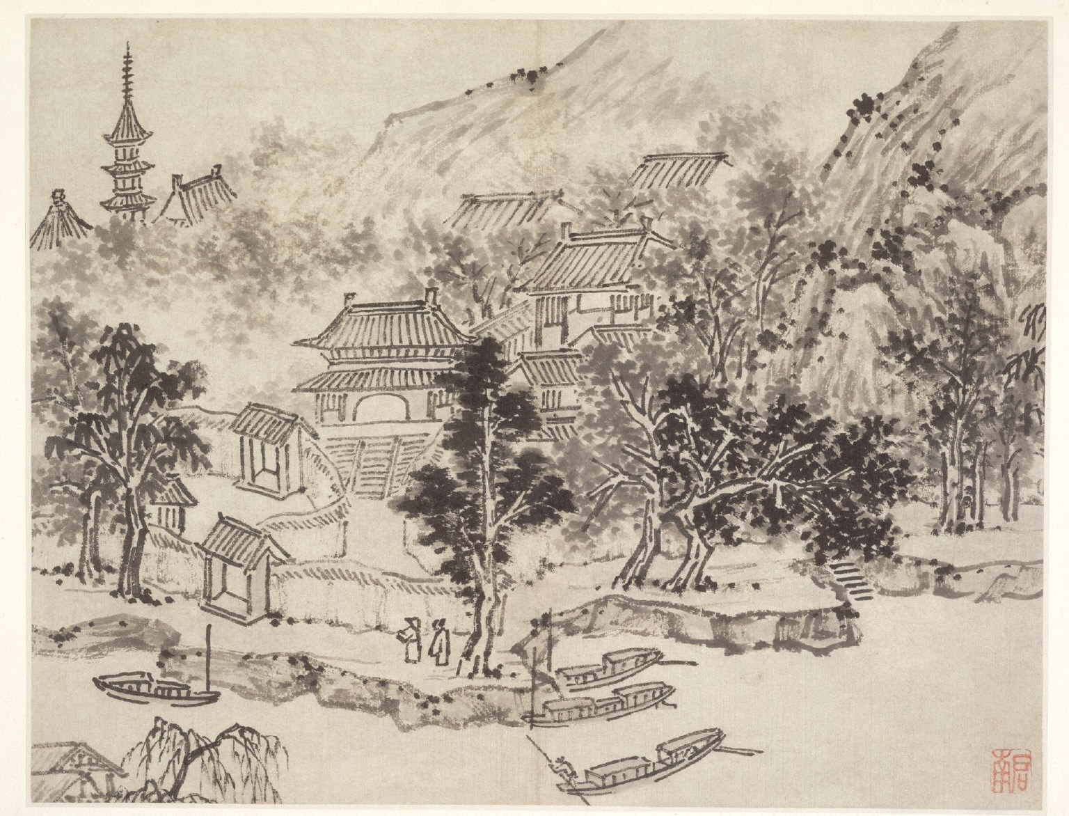 Twelve Views of Tiger Hill, Suchou: Distant View of Tiger Hill from the Canal Mooring