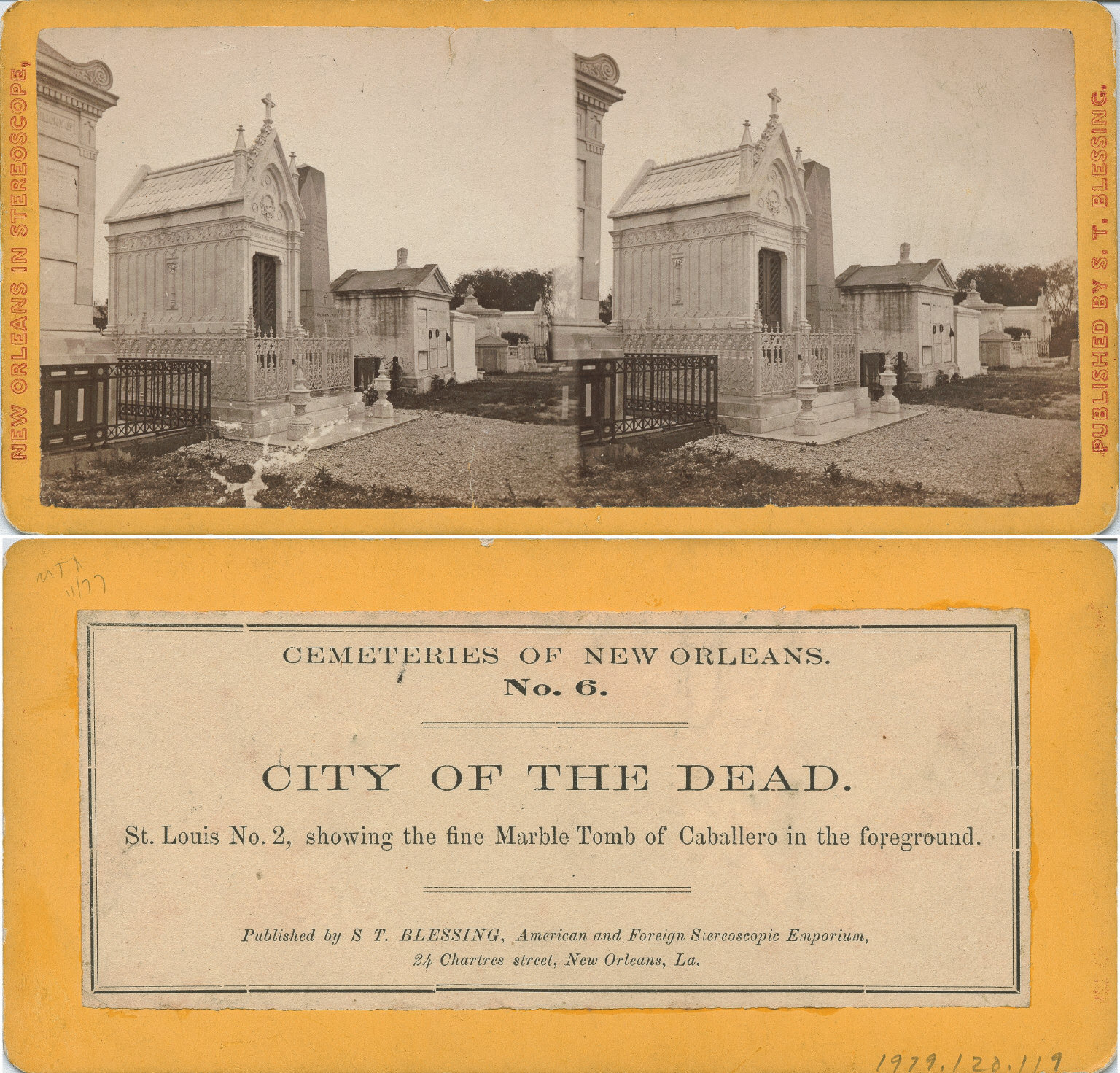 City of the dead St. Louis No. 2 showing the fine marble tomb of Caballero in the foreground