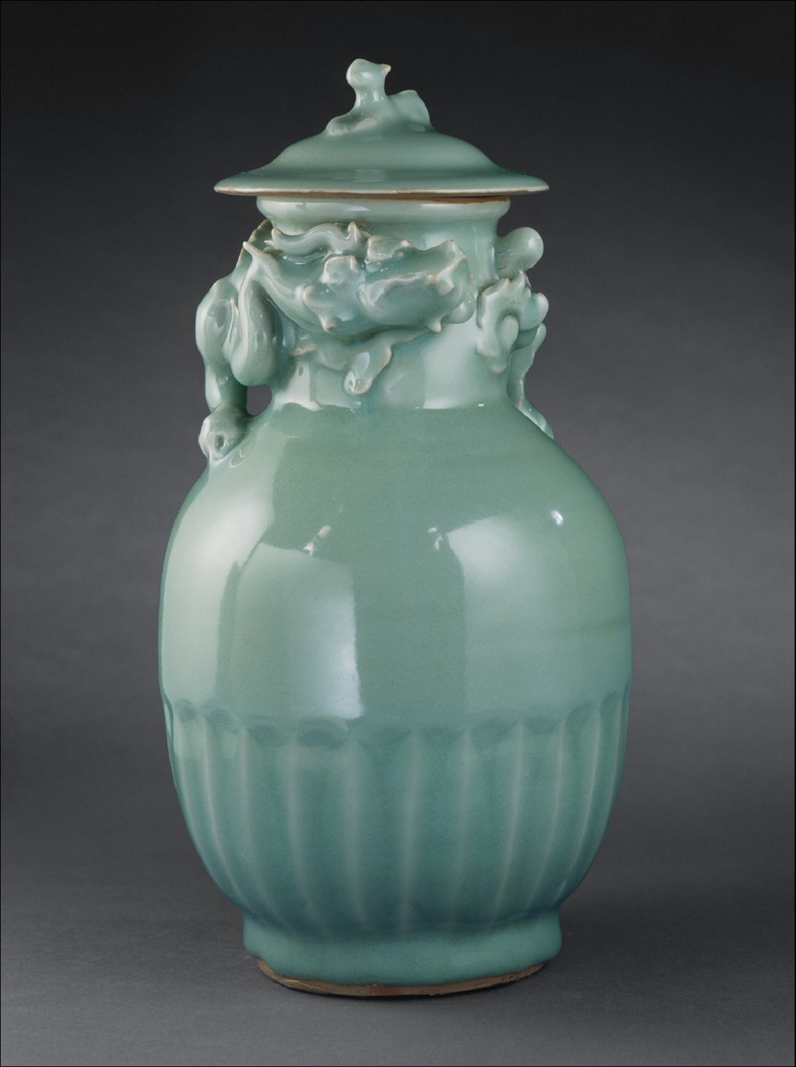Lidded Funerary Urn (Lunghu Ping) with Dog and Dragon