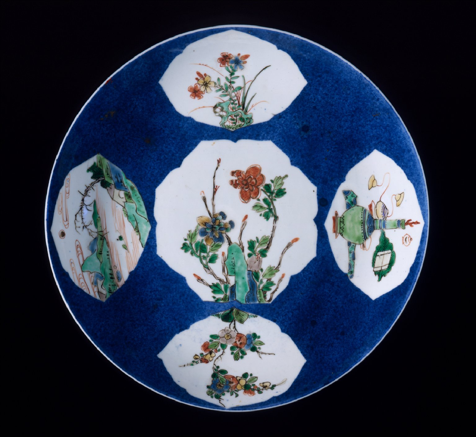 Dish (Pan) with Flowers, Landscapes, and Vessels with Musical Instruments