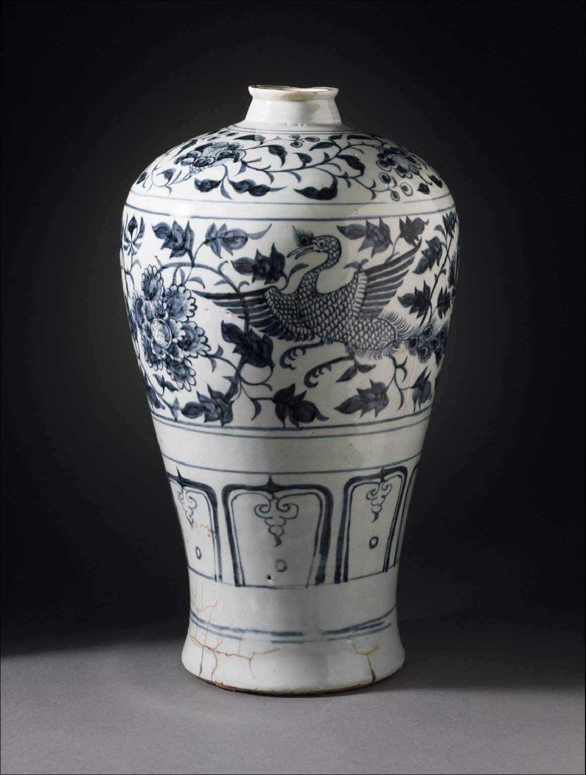 Prunus Jar (Meiping) with Pair of Peafowls in Floral Scrolls