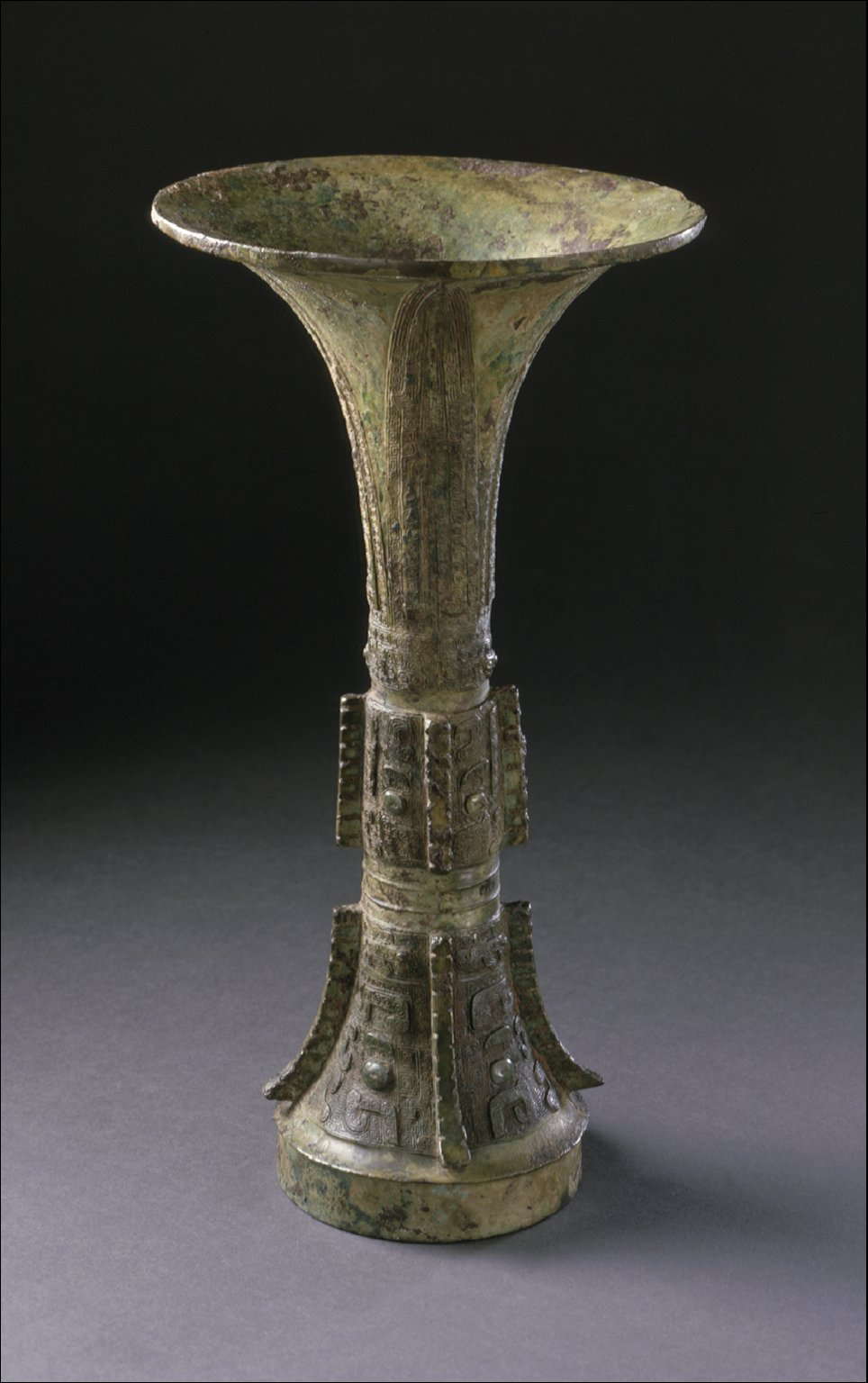Ritual Wine Cup (Gu) with Masks, Dragons, and Snakes