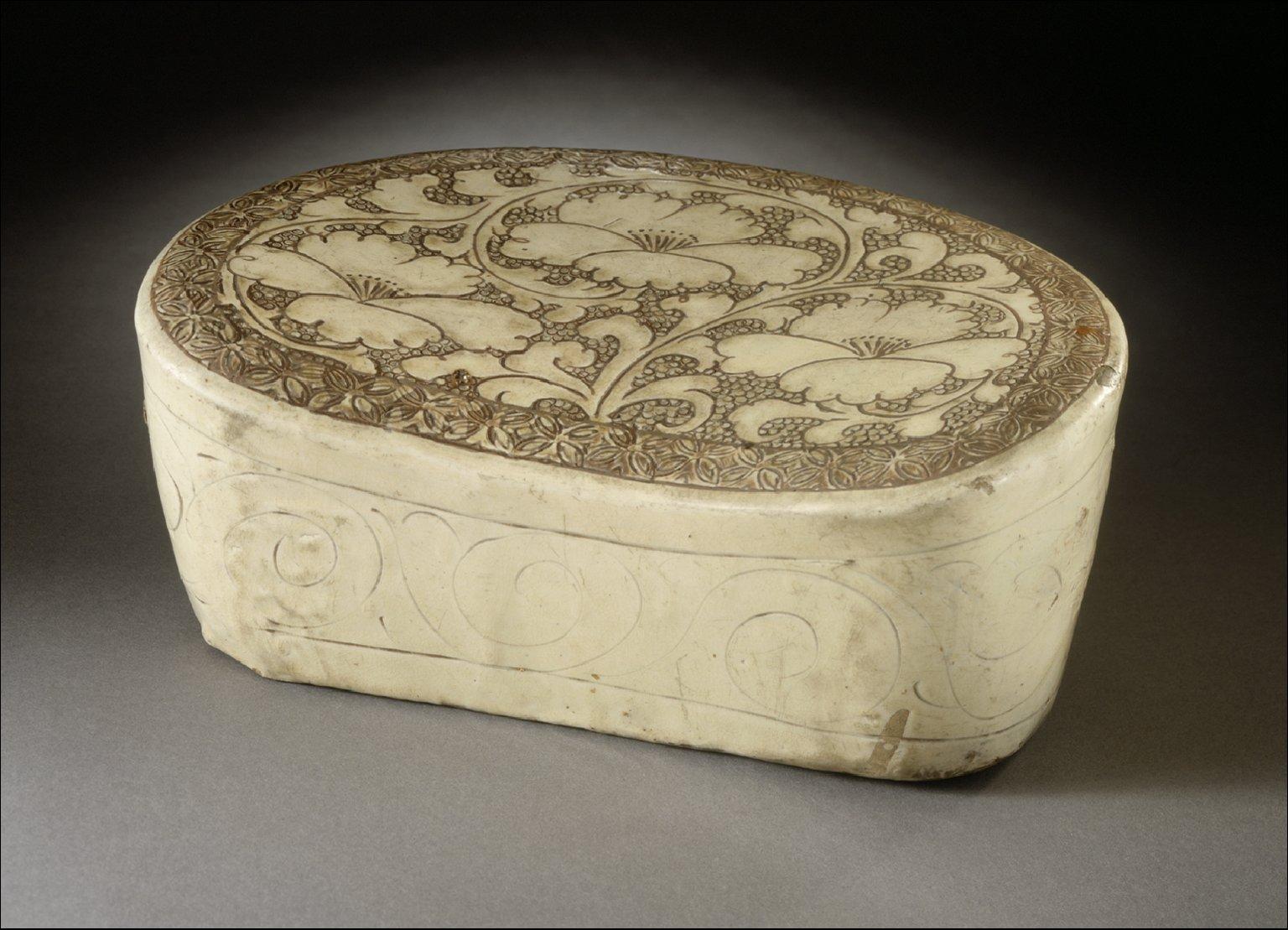 Headrest (Zhen) with Peony Scrolls