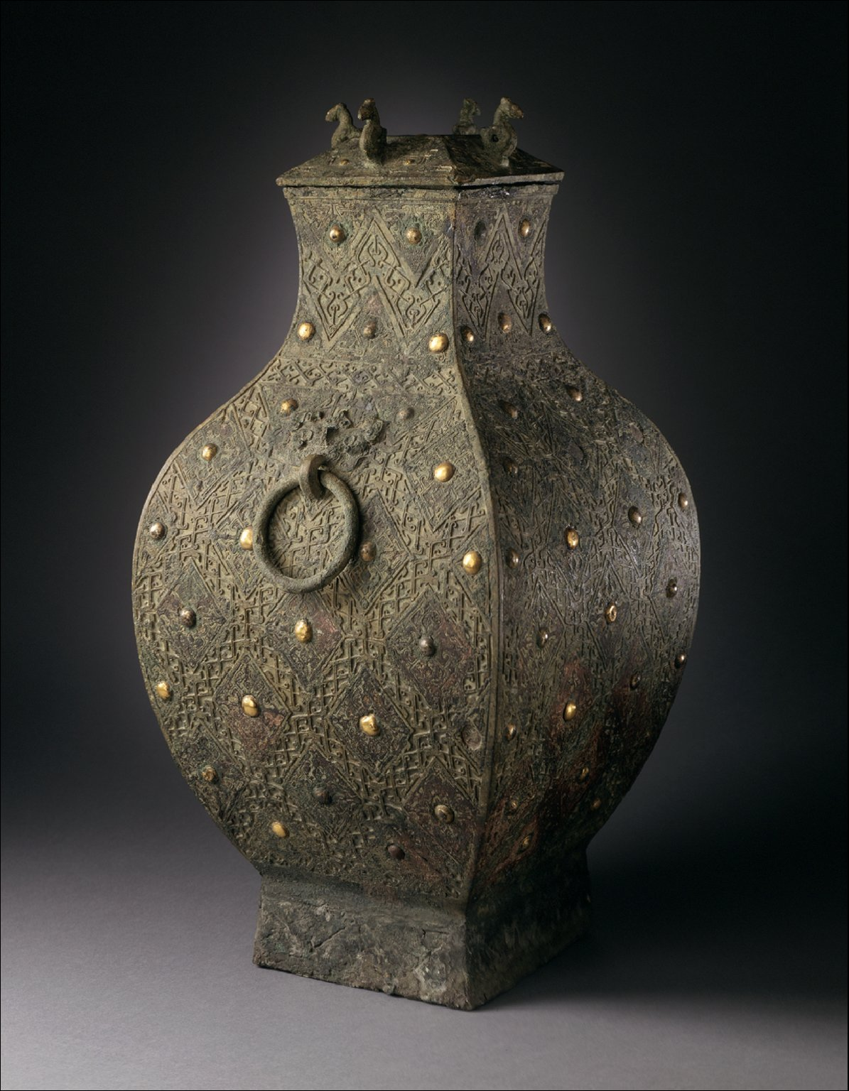 Lidded Square Wine Storage Jar (Fanghu) with Lozenges and Knobs