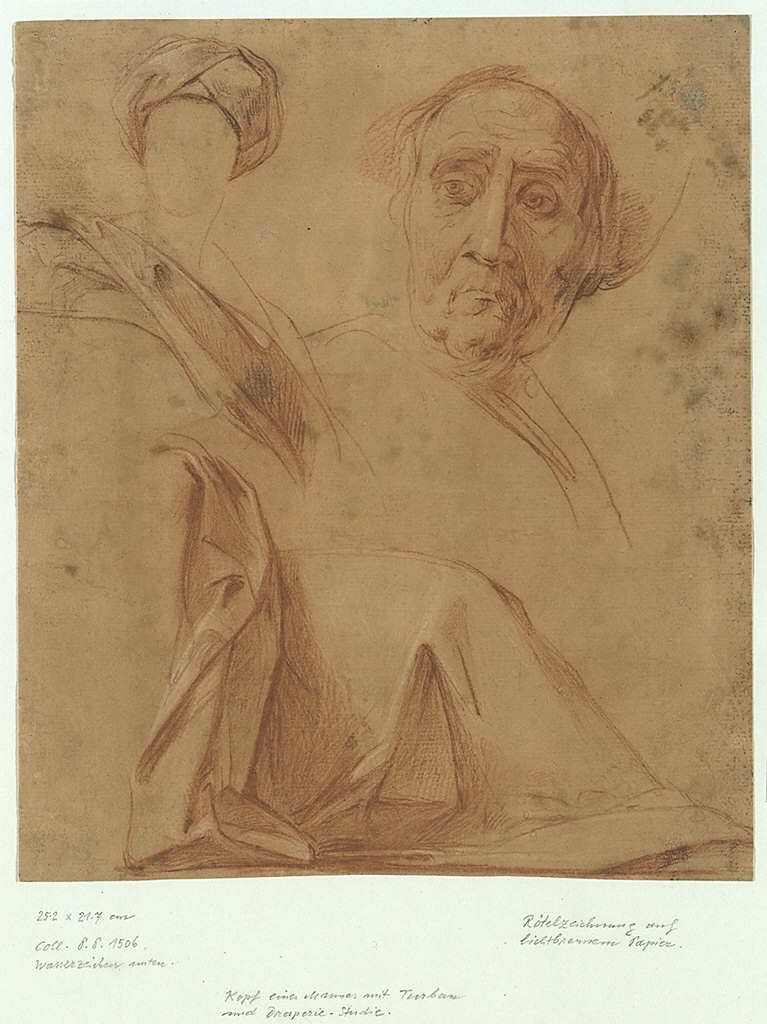 A Seated Figure with a Turban, a Drapery Study, and a Portrait of a Man