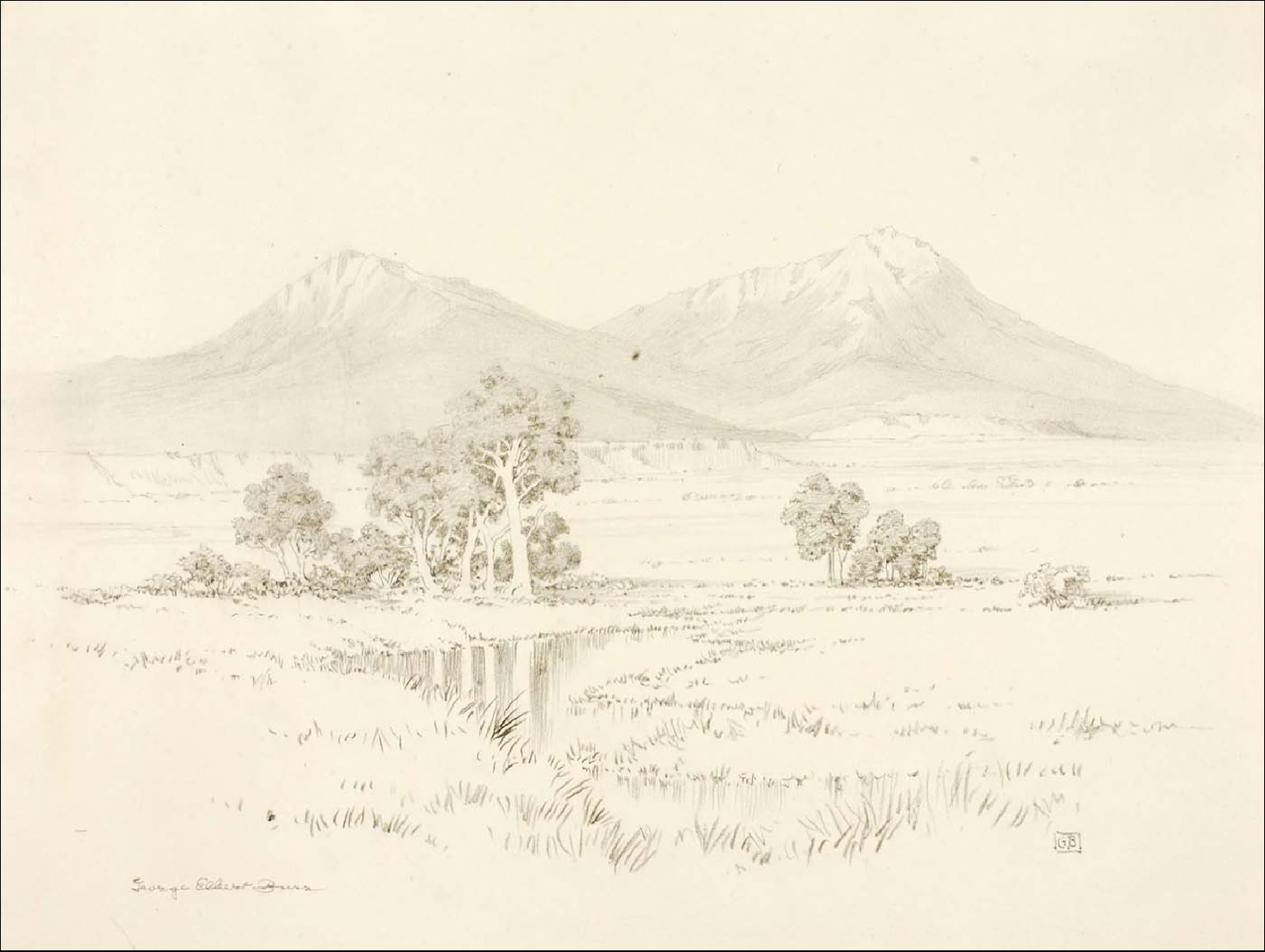 Untitled (transfer drawing for Spanish Peaks [no. 2])