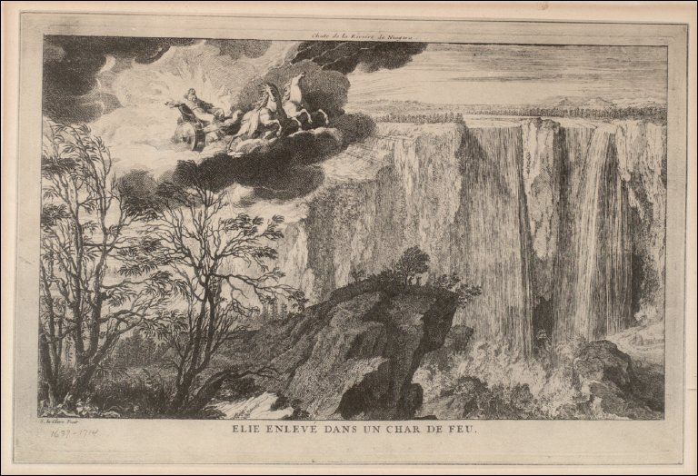 Falls of Niagara River-Elijah Ascending to Heaven in Fiery Chariot
