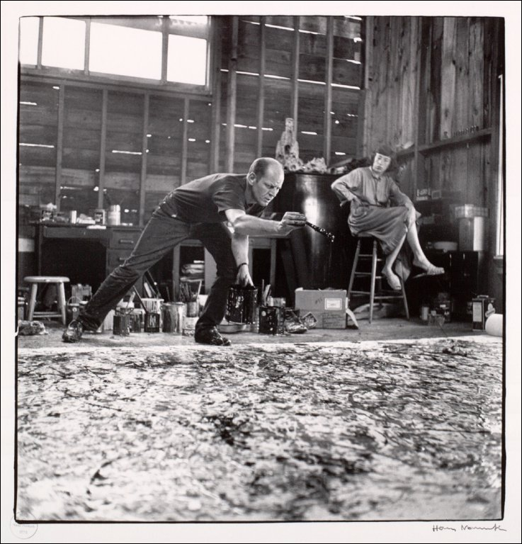 Jackson Pollock painting One and Lee Krasner
