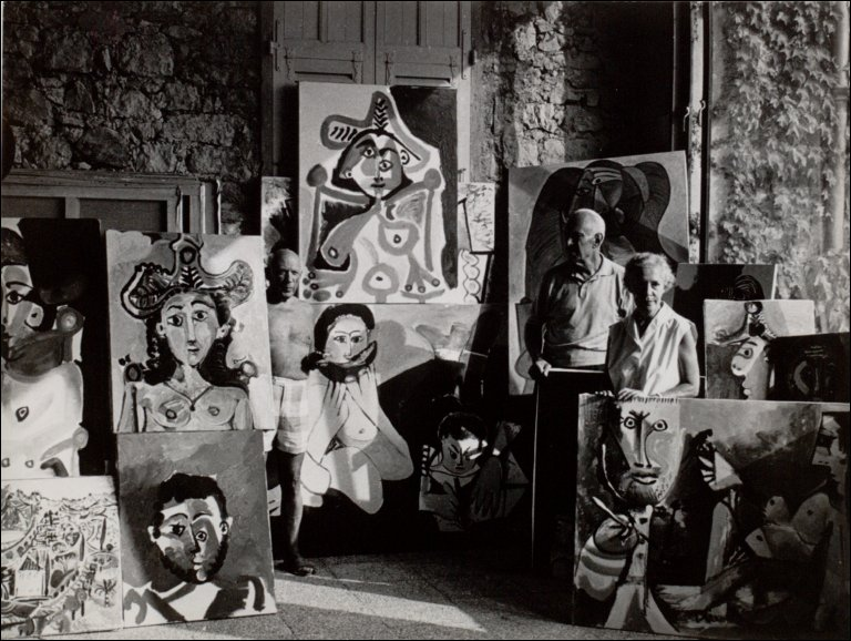 Picasso in His Studio with Sam and Jane Kootz