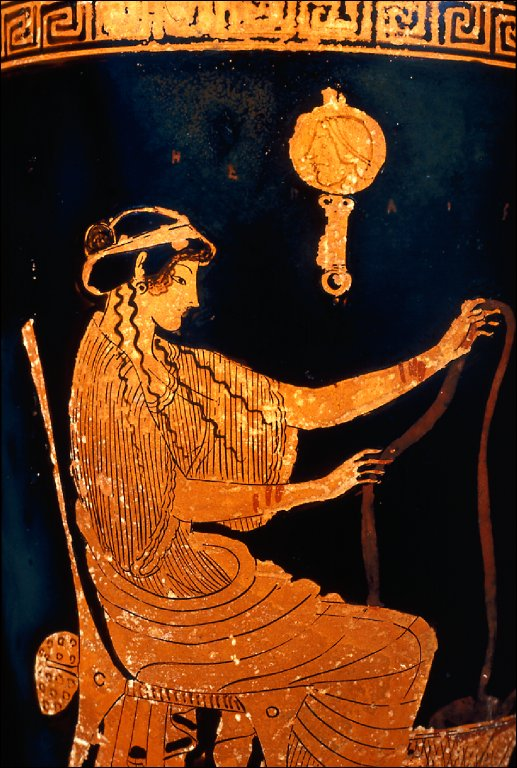 Lekythos (oil bottle) with seated woman