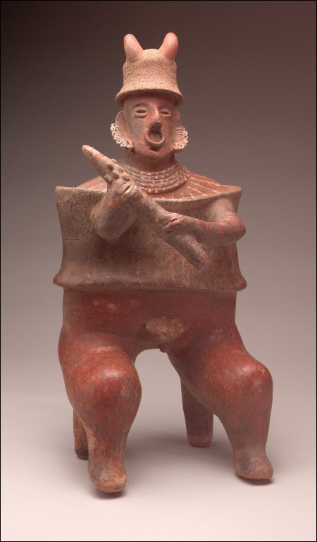 Seated warrior holding mace