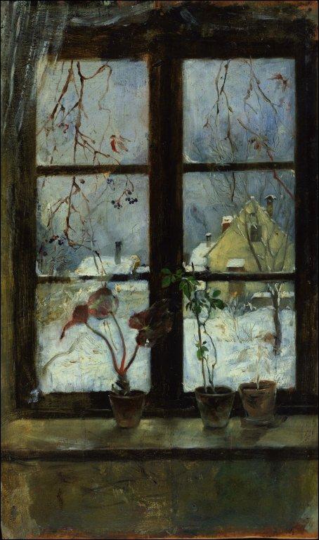 Snow Scene Through a Winter Window