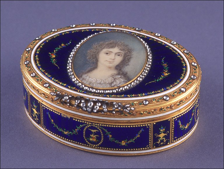 Royal blue enamel snuff box with a miniature of lady on lid rimmed with diamonds