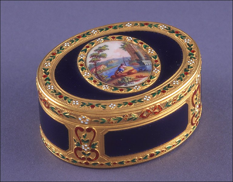 Oval snuff box of blue enamel with scene of a man fishing