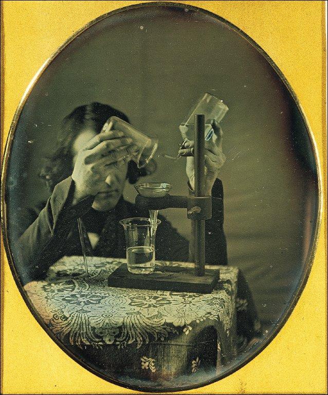 Self-portrait with laboratory instruments